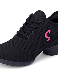 cheap -Women's Dance Shoes Mesh / Synthetics Dance Sneakers Sided Hollow Out Sneaker Thick Heel White / Black / Red / Practice