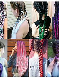 cheap -Braiding Hair Straight Crochet Hair Braids Virgin Human Hair 1 pc Hair Braids 24 inch Plait Hair African Braids Daily Wear African Braids / The hair length in the picture is 24inch.