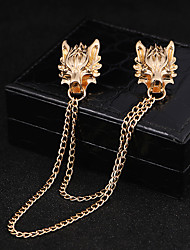 cheap -Men's Brooches Vintage Style Link / Chain Wolf Head Creative Statement Fashion Hip-Hop Brooch Jewelry Gold Silver For Halloween Street