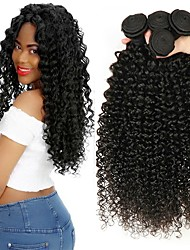 cheap -3 Bundles Indian Hair Kinky Curly Human Hair Unprocessed Human Hair 300 g Natural Color Hair Weaves / Hair Bulk Extension Bundle Hair 8-28 inch Black Natural Color Human Hair Weaves Silky Smooth Best