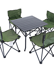 cheap -Shamocamel® Camping Folding Table with Chairs Portable Mini Foldable Oxford Cloth Aluminium Alloy 4 Chairs 1 Table for 4 Fishing Beach Camping Autumn / Fall Spring Black