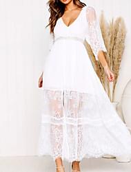 abordables -Femme Vacances Sortie Maxi Balançoire Robe - Dentelle, Couleur Pleine Col en V Blanc Eté Blanc M L XL Demi Manches