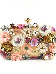 cheap -Women's Beading / Crystals Polyester Evening Bag Rhinestone Crystal Evening Bags Floral Print Almond