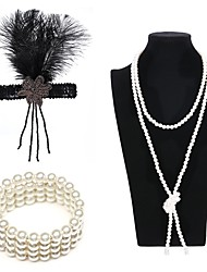 cheap -The Great Gatsby Charleston Vintage 1920s Costume Accessory Sets Flapper Headband Women's Artistic Style Costume Head Jewelry Pearl Necklace Slave Bracelet Black / Golden / White Vintage Cosplay