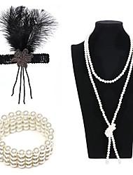 abordables -Gatsby Charleston Rétro Vintage Années 1920 Ensembles d'accessoires de costume Bandeau Garçonne Femme Style artistique Costume Bijoux de Cheveux Collier de perles Bracelet Esclave Noir / Dor