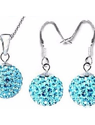 cheap -Women's Cubic Zirconia Drop Earrings Pendant Necklace Harmony Ball Necklace Disco Ball Foxtail chain Flower Ball Ladies Stylish Geometric Sweet S925 Sterling Silver Earrings Jewelry Green / Blue