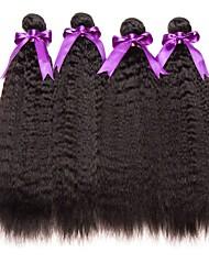 cheap -4 Bundles Mongolian Hair Yaki Straight Human Hair Unprocessed Human Hair Natural Color Hair Weaves / Hair Bulk Hair Care Extension 8-28 inch Natural Color Human Hair Weaves New Arrival Hot Sale Thick