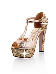 cheap -Women's Heels Glitter Crystal Sequined Jeweled Stiletto Heel Synthetics Spring Gold / Silver / Daily