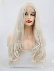 cheap -Synthetic Lace Front Wig Wavy Middle Part Lace Front Wig Long Platinum Blonde Synthetic Hair 20-22 inch Women's Adjustable Heat Resistant White