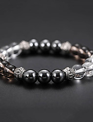 cheap -Men's Black Gemstone Bead Bracelet Bracelet Stylish Magnetic Cathedral Creative Natural Casual / Sporty Fashion Resin Bracelet Jewelry Black For Birthday Daily