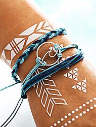 cheap -Women's Vintage Style / Braided / Crossover Vintage Bracelet / Yoga Bracelet / Handmade Link Bracelet - Wave Bohemian, Fashion, Military Bracelet Blue For Daily / Evening Party / 3pcs
