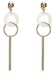 cheap -Women's Pearl Ear Piercing Drop Earrings Hoop Earrings Stylish Geometrical Long Creative Happy Statement Ladies Ethnic 18K Gold Plated Shell Earrings Jewelry Gold For Daily Birthday 1 Pair