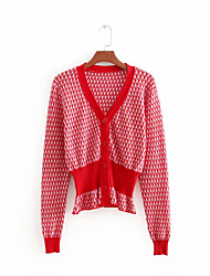 cheap -Women's Daily Solid Colored Short Sleeve Regular Cardigan Sweater Jumper, Round Neck Cotton Red S / M / L