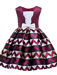 cheap -Kids Girls' Sweet Holiday Going out Blue & White Striped Patchwork Bow Sleeveless Dress Red / Cotton