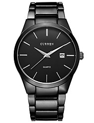 cheap -Men's Dress Watch Quartz Classic Calendar / date / day Stainless Steel Black / Silver Analog - Black Black / White Silver / Chronograph / Large Dial