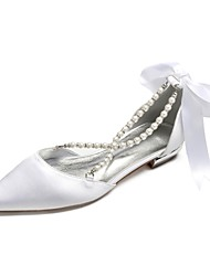 cheap -Women's Wedding Shoes Lace up Plus Size Flat Heel Pointed Toe Wedding Party & Evening Satin Rhinestone Bowknot Imitation Pearl Solid Colored White Black Purple