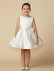 cheap -Princess Above Knee Flower Girl Dresses Wedding Satin Sleeveless Jewel Neck with Bows / First Communion
