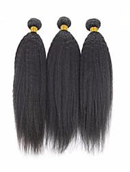 cheap -3 Bundles Brazilian Hair Yaki Straight Human Hair Natural Color Hair Weaves / Hair Bulk Bundle Hair Human Hair Extensions 8-28 inch Natural Color Human Hair Weaves Women Extention Best Quality Human
