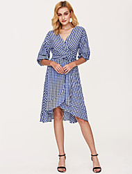 cheap -Women's Plaid Blue Dress Street chic Summer Daily Sheath Check V Neck Blue Print One-Size