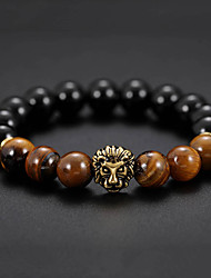 cheap -Men's Black Gemstone Tiger's eye Stone Bead Bracelet Bracelet Stylish Cathedral Creative Natural Casual / Sporty Fashion Stone Bracelet Jewelry Black For Birthday Daily