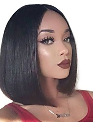 cheap -Human Hair Lace Front Wig Bob Wendy style Brazilian Hair Burmese Hair Straight Natural Natural Black Wig 130% Density with Baby Hair Women Easy dressing Best Quality Hot Sale Women's Short Human Hair