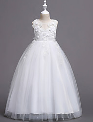 cheap -Princess Long Length Wedding / First Communion Flower Girl Dresses - Satin / Tulle Sleeveless Jewel Neck with Belt / Crystals / Appliques