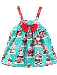 cheap -Kids Girls' Active Sweet Party Holiday Plants Cartoon Snowflake Bow Print Sleeveless Above Knee Dress Blue