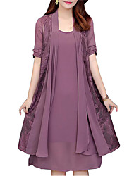 cheap -Women's Plus Size Two Piece Dress Knee Length Dress - Short Sleeve Solid Colored Lace Spring Fall Daily Loose Black Purple Red Navy Blue L XL XXL XXXL XXXXL