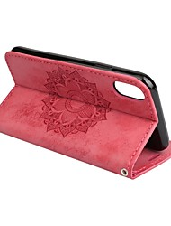 cheap -Case For Apple iPhone X / iPhone 8 Plus / iPhone 8 Wallet / Card Holder / with Stand Full Body Cases Mandala / Flower Hard PU Leather