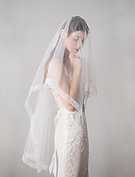 cheap -Two-tier Euramerican Wedding Veil Fingertip Veils with Trim 62.99 in (160cm) Cotton / nylon with a hint of stretch / Lace / Drop Veil