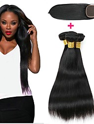 cheap -3 Bundles with Closure Indian Hair Straight Human Hair Unprocessed Human Hair Natural Color Hair Weaves / Hair Bulk Bundle Hair One Pack Solution 8-20 inch Natural Color Human Hair Weaves New Arrival