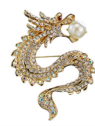 cheap -Men's Cubic Zirconia Freshwater Pearl Brooches Stylish Tennis Chain Dragon Creative Statement Luxury Chinoiserie Rhinestone Brooch Jewelry Gold Silver For Daily Formal