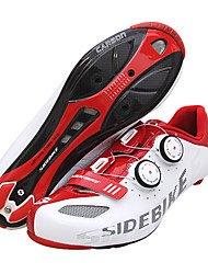 cheap -SIDEBIKE Road Bike Shoes Carbon Fiber Waterproof Breathable Anti-Slip Cycling Red / White Men's Cycling Shoes / Cushioning / Ventilation / Ultra Light (UL) / Cushioning / Ventilation