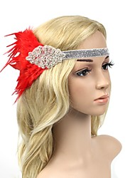 cheap -The Great Gatsby Charleston Vintage 1920s Flapper Headband Women's Artistic Style Costume Head Jewelry Black / Red and White / Golden Vintage Cosplay Party Prom