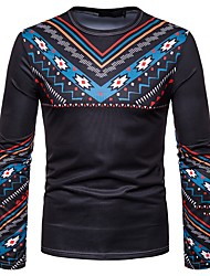 cheap -Men's Party Holiday Vintage / Boho Cotton T-shirt - Tribal Print Black / Long Sleeve
