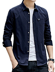 cheap -Men's Daily Basic Shirt - Solid Colored Wine / Long Sleeve