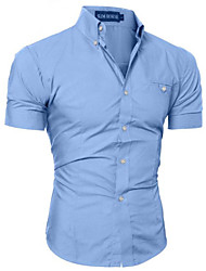 cheap -Men's Plus Size Solid Colored Shirt Daily Work Wine / White / Black / Purple / Blushing Pink / Brown / Gray / Light Blue / Short Sleeve