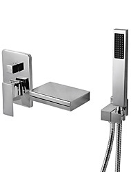 cheap -Bathtub Faucet - Contemporary Chrome Wall Mounted Brass Valve Bath Shower Mixer Taps / Single Handle Three Holes