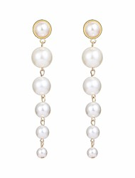 cheap -Women's Freshwater Pearl Long Link / Chain Hoop Earrings - Creative, Ball Statement, Elegant Gold For Party / Evening Evening Party