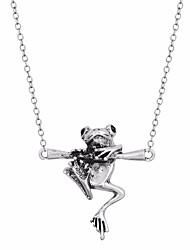 cheap -Women's Obsidian Pendant Necklace Byzantine Frog Animal Ladies Dangling Casual / Sporty Alloy Ancient Bronze Silver 45 cm Necklace Jewelry 1pc For Gift Holiday
