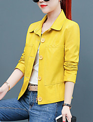 cheap -Women's Daily Military Short Leather Jacket, Solid Colored Shirt Collar Long Sleeve PU Red / Blushing Pink / Yellow