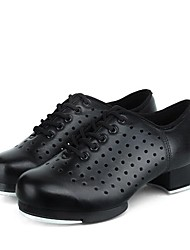 cheap -Men's Dance Shoes Faux Leather Tap Shoes Sided Hollow Out Sneaker Thick Heel Customizable Black / Performance / Practice