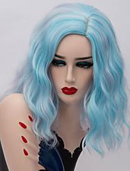 Недорогие -Кудрявый Средняя часть Парик Короткие Фиолетовый Небесно-голубой Искусственные волосы 16 дюймовый Жен. Модный дизайн Синий Фиолетовый