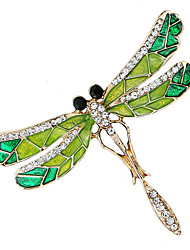cheap -Women's Cubic Zirconia Brooches Stylish Tennis Chain Creative Dragonfly Luxury Baroque Fashion Rhinestone Brooch Jewelry Green For Wedding Daily