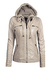 cheap -Women's Daily Short Leather Jacket, Contemporary Hooded Long Sleeve PU Black / Beige / Dark Coffee