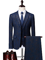 cheap -Black / Dark Navy Patterned Standard Fit Polyester Suit - Notch Single Breasted Two-buttons