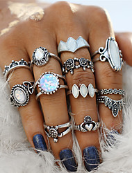 cheap -Couple's Ring Nail Finger Ring Midi Ring Onyx Opal 12pcs Silver Acrylic Alloy Geometric Ladies Bohemian Punk Party Halloween Jewelry Retro Hollow Out Flower Turtle Cool Lovely