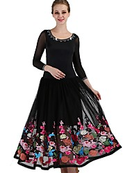 cheap -Ballroom Dance Dresses Women's Performance Spandex Scattered Bead Floral Motif Style / Ruching Long Sleeve Dress