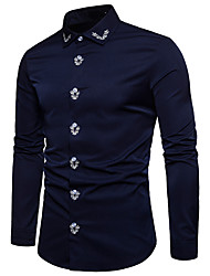 cheap -Men's Evening Party Date Vacation Vintage / Elegant EU / US Size Cotton Shirt - Color Block / Tribal Embroidered Standing Collar Black / Long Sleeve