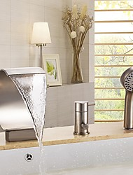 cheap -Bathtub Faucet - Contemporary Brushed Roman Tub Ceramic Valve Bath Shower Mixer Taps / Three Handles Three Holes